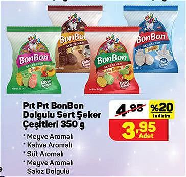 Pıt Pıt BonBon Dolgulu Sert Şeker Çeşitleri 350 g image