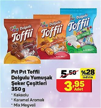 Pıt Pıt Toffii Dolgulu Yumuşak Şeker Çeşitleri 350 g image
