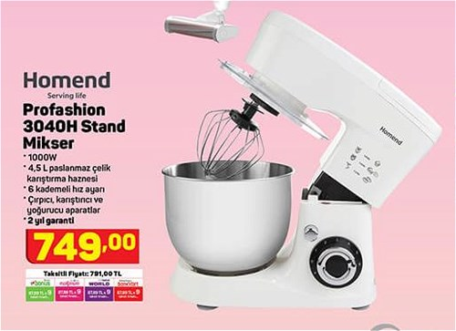 Homend Profashion 3040H Stand Mikser 1000 W image