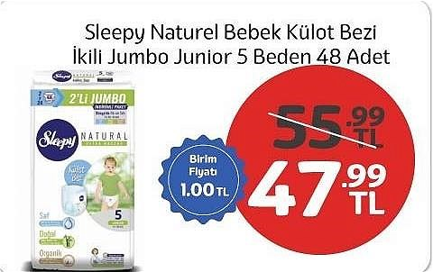 Sleepy Naturel Bebek Külot Bezi İkili Jumbo Junior 5 Beden 48 Adet image