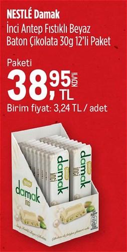 Nestle Damak İnci Antep Fıstıklı Beyaz Baton Çikolata 30 g 12'li image