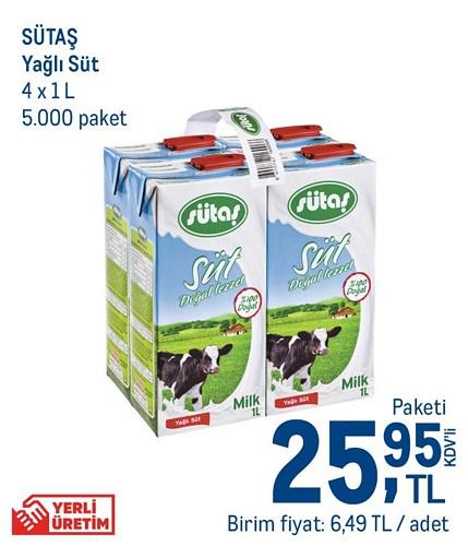 Sütaş Yağlı Süt 4x1 L image