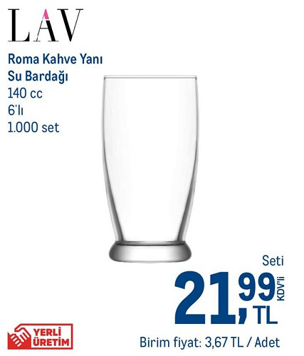 Lav Roma Kahve Yanı Su Bardağı 140 cc 6'lı image