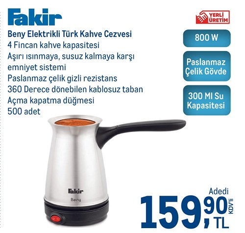 Fakir Beny Elektrikli Türk Kahve Cezvesi 800 W 300 Ml image