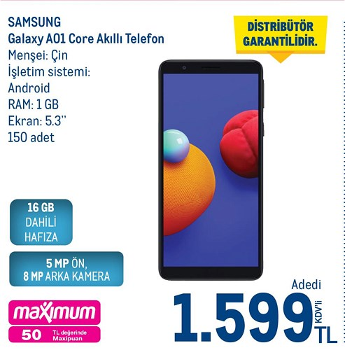 Samsung Galaxy A01 Core 16 GB Akıllı Telefon image