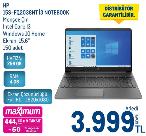 Hp 15S-FQ2038NT İ3 256 GB Notebook image