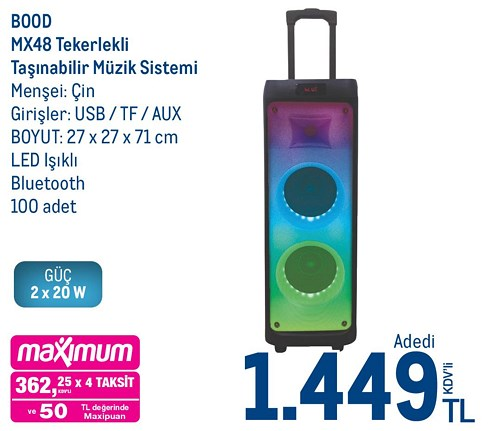 Bood MX48 Tekerlekli Taşınabilir Müzik Sistemi image