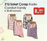 Comfort Family 3'lü Soket Çorap Kadın image
