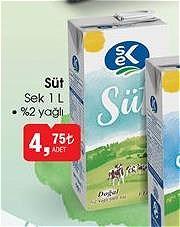 Sek Süt 1 l %2 Yağlı image