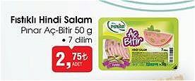 Pınar Aç Bitir Fıstıklı Hindi Salam 50 g 7 Dilim image