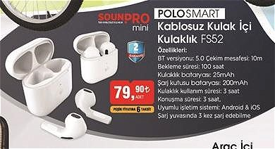 Polosmart Kablosuz Kulak İçi Kulaklık FS52 image
