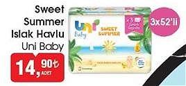 Uni Baby Sweet Summer Islak Havlu 3x52'li image