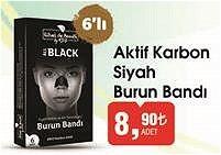 Aktif Karbon Siyah Burun Bandı 6'lı image