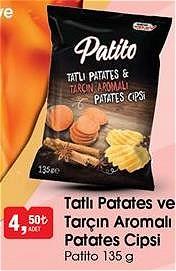 Patito Tatlı Patates ve Tarçın Aromalı Patates Cipsi 135 g image