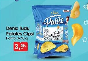 Patito Deniz Tuzlu Patates Cipsi 3x40 g image