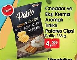 Patito Cheddar ve Ekşi Krema Aromalı Tırtıklı Patates Cipsi 135 g image