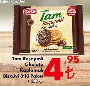 Torku Tam Ruşeymli Çikolata Kaplamalı Bisküvi 3'lü Paket 252 gr image