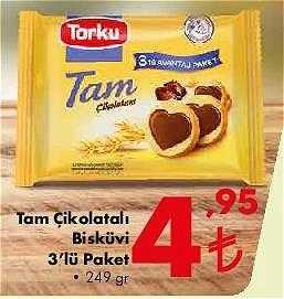 Torku Tam Çikolatalı Bisküvi 3'lü Paket 249 gr image