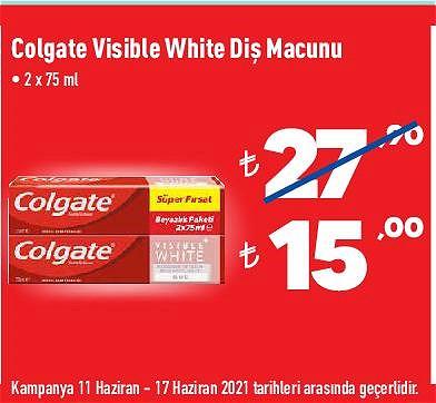 Colgate Visible White Diş Macunu 2x75 ml image