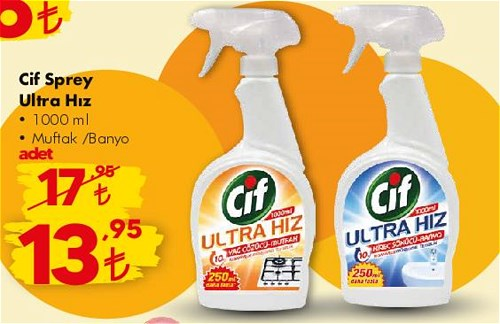 Cif Sprey Ultra Hız 1000 ml Mutfak/Banyo image
