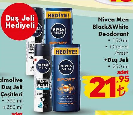 Nivea Men Black&White Deodorant 150 ml+Duş Jeli 250 ml hediyeli image