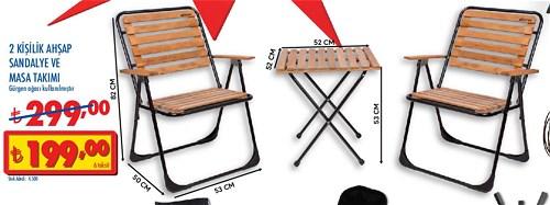 2 Kişilik Ahşap Sandalye ve Masa Takımı image