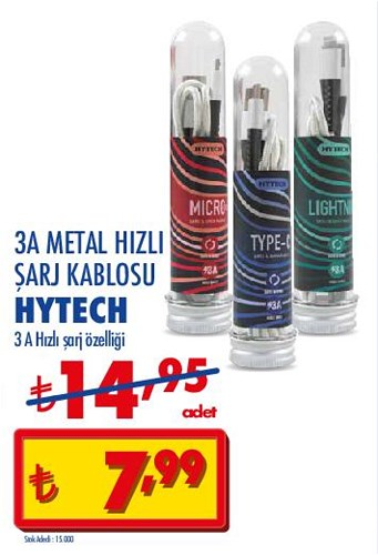 Hytech 3A Metal Hızlı Şarj Kablosu image