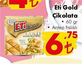 Eti Gold Çikolata 60 gr Antep Fıstıklı  image