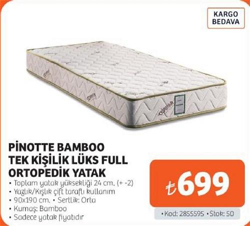 Pinotte Bamboo Tek Kişilik Lüks Full Ortopedik Yatak 90x190 cm image