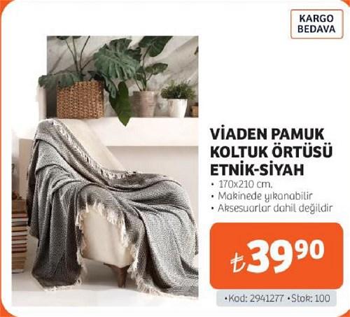 Viaden Pamuk Koltuk Örtüsü Etnik-Siyah 170x210 cm image