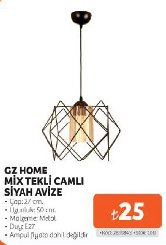 Gz Home Mix Tekli Cam Siyah Avize image