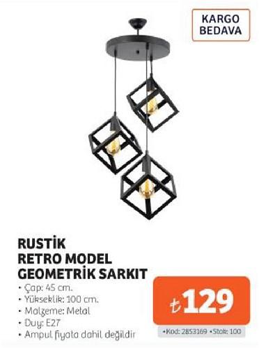 Rustik Retro Model Geometrik Sarkıt image