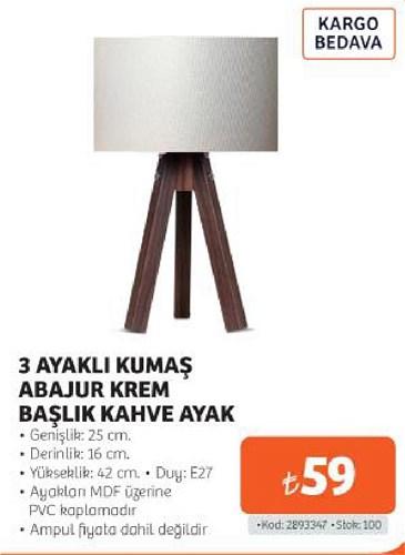 3 Ayaklı Kumaş Abajur Krem Başlık Kahve Ayak image