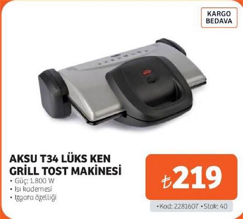 Aksu T34 Lüks Ken Grill Tost Makinesi 1800 W image