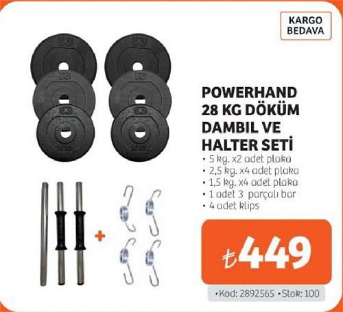 Powerhand 28 Kg Döküm Dambıl ve Halter Seti image
