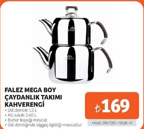 Falez Mega Boy Çaydanlık Takımı Kahverengi image