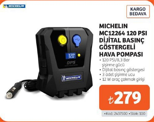 Michelin MC12264 120 PSI Dijştal Basınç Göstergeli Hava Pompası image