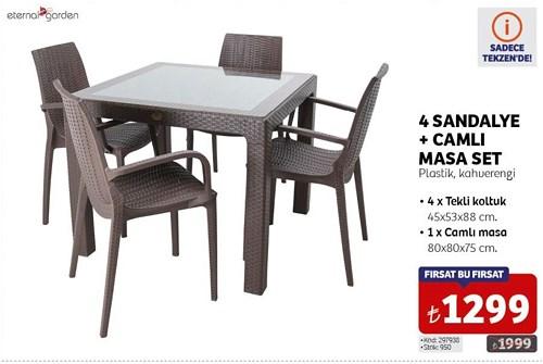 Eternal Garden 4 Sandalye+Camlı Masa Set image