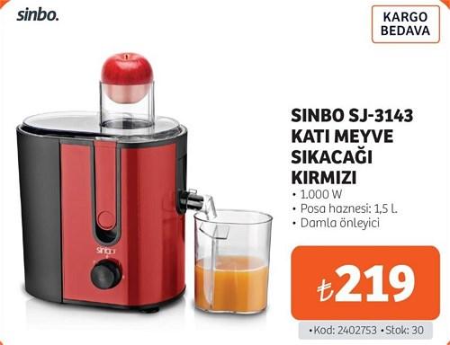 Sinbo SJ-3143 Katı Meyve Sıkacağı Kırmızı image