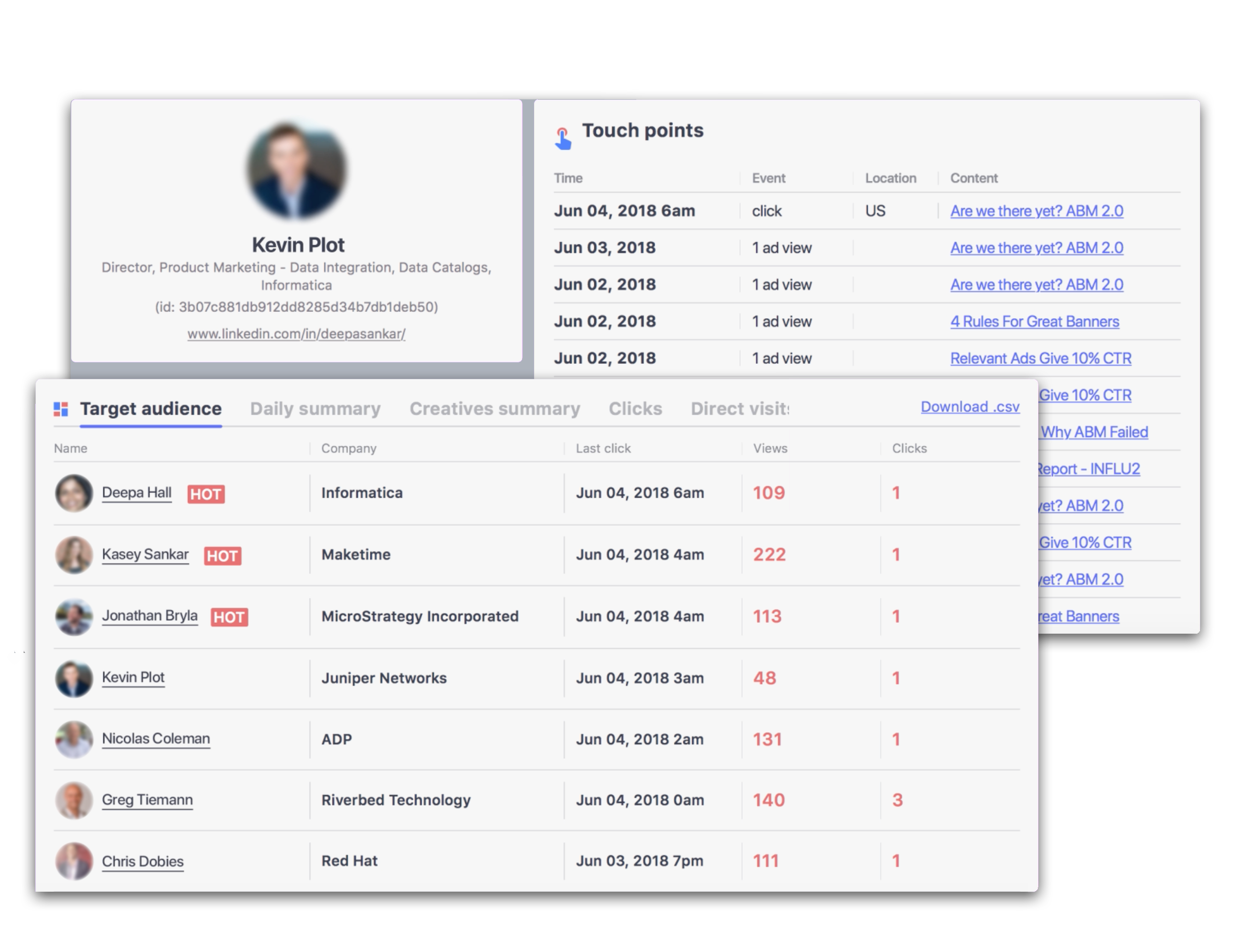 Influ2 Person-Based Marketing solution screenshot