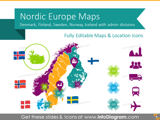 Nordic Europe Maps with Administrative Territories (PPT editable)