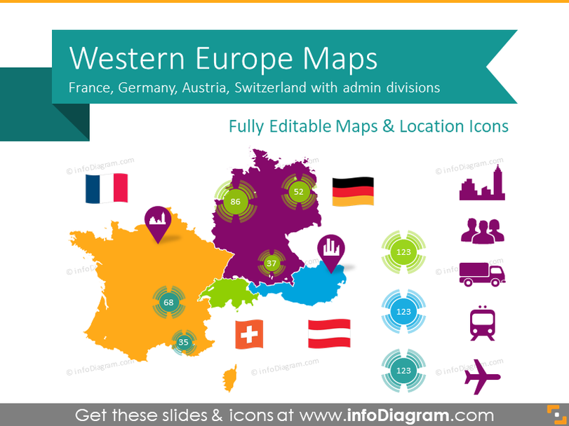 Western Europe Maps with Administrative Territories (Germany, France PPT editable Maps)