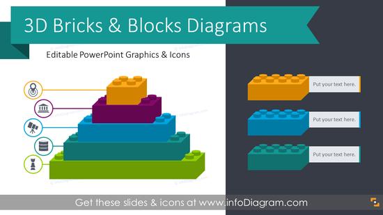 3D Bricks Graphics Blocks Diagrams (PPT Template)
