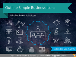 Outline Business Icons for infographics (PPT vector symbols)
