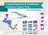 Maps Central America & Caribbean. Population, GDP, transport icons PPT