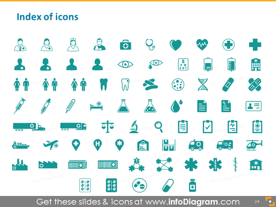 Health care icons index medical pharma