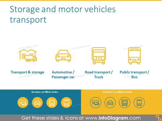 Storage and motor vehicles transport icons set
