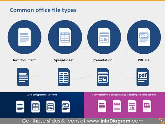 Office document file spreadsheet Presentation PDF icon PPTX