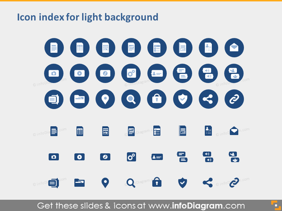 IT symbols document file types excel doc presentation PPTX index light bac…