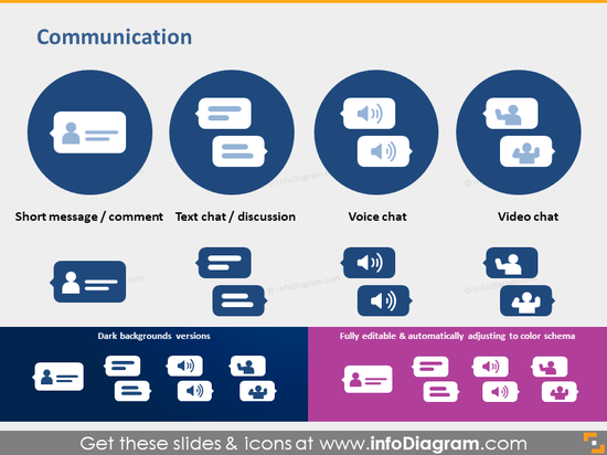 communication icons comment text message chat pptx